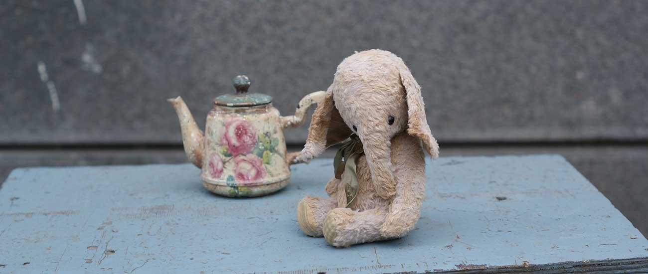 слоник, слон,авторская игрушка, мишка тедди, вискоза, антик, Гузель Костына